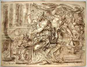François BOITARD - Drawing-Watercolor - Allegory of Architecture