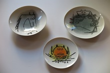 """Wifredo LAM - Cerámica - Porcelana di Albisola - set of three plates, two 9"""", one 7.7"""