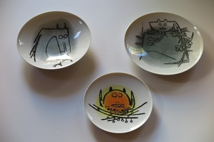 """Wifredo LAM - Céramique - Porcelana di Albisola - set of three plates, two 9"""", one 7.7"""