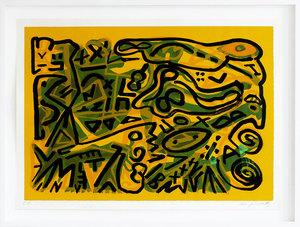 A.R. PENCK - Estampe-Multiple - Weltbild horizontal grün auf gelb