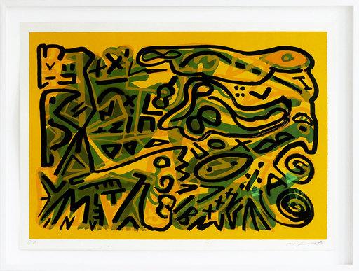A.R. PENCK - Print-Multiple - Weltbild horizontal grün auf gelb