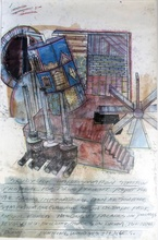 Dennis OPPENHEIM - Drawing-Watercolor - Study for impersonation station, Olympic park Korea