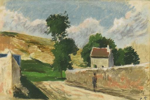 Camille PISSARRO - Drawing-Watercolor - Une Rue à l'Hermitage, Pontoise
