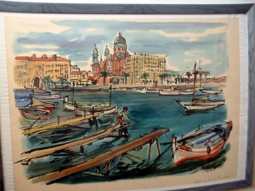 Luis Vidal MOLNÉ - Dessin-Aquarelle - Port de Saint Raphael