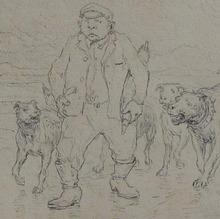 Eugène BURNAND - Dessin-Aquarelle - homme suivi par de gros chiens