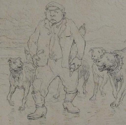 Eugène BURNAND - Dibujo Acuarela - homme suivi par de gros chiens