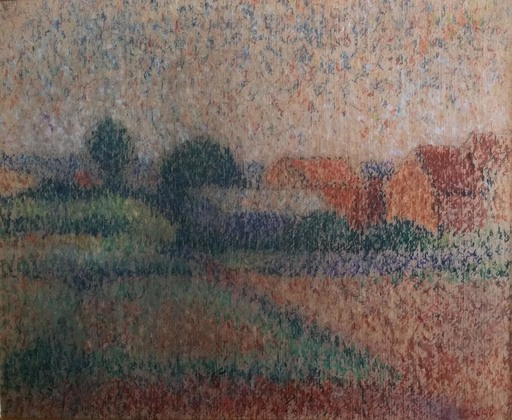 Maximilien LUCE - Drawing-Watercolor - Paysage de campagne