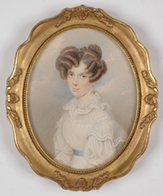 "Karl VON SAAR - Miniature - ""Josefine Menz, born von Thoren"", 1827, Watercolor"