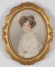 """Karl VON SAAR - Miniature - """"Josefine Menz, born von Thoren"""", 1827, Watercolor"""