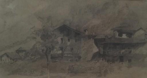 Guglielmo CIARDI - Dessin-Aquarelle - Paesaggio con baita sulle Dolomiti