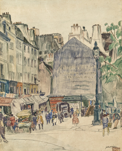 Jules PASCIN - Disegno Acquarello - Pariser Straßenszene