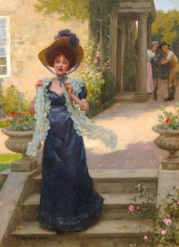 Albert VON KELLER - Painting - An Afternoon Stroll