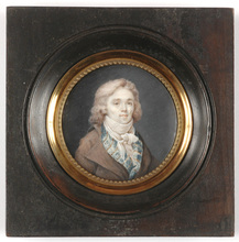 "Étienne Louis ADVINENT (Attrib.) - Miniature - ""Portrait of a young gentleman"" miniature on ivory"