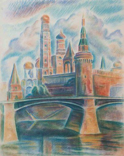 Theodor ALLESCH-ALESCHA - Dibujo Acuarela - Moskau