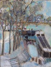 André BOURRIE - Painting - Péniches sur les quais de Seine
