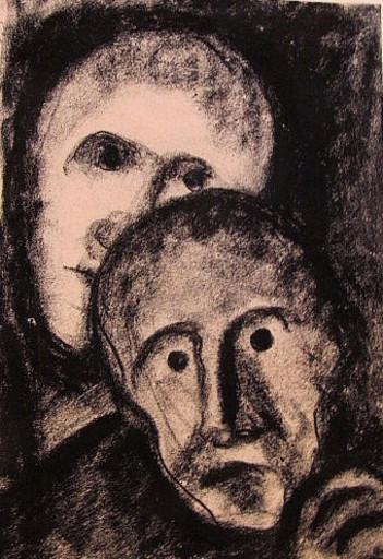 Friedrich EINHOFF - Drawing-Watercolor - #20001: 2 Gesichter bzw. Masken