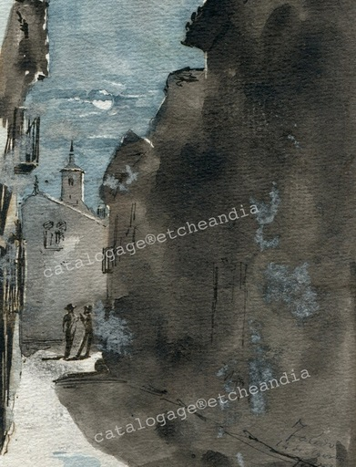 Ulpiano CHECA Y SANZ - Drawing-Watercolor - Toledo, 14 Agosto 18...