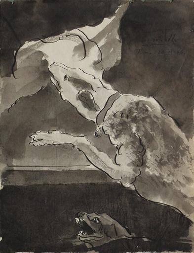 Alberto GIRONELLA - Drawing-Watercolor - Perros devorando carne