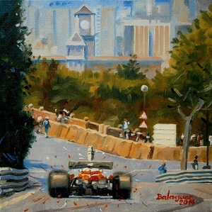 Alex BALAGUER - Painting - Niki Lauda · Montjuïc 1975 · Ferrari 312T