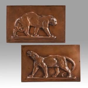 Antoine Louis BARYE - Sculpture-Volume - Leopard & Panther Plaques