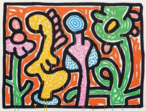 Keith HARING - Print-Multiple - Flowers IV (Orange)