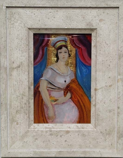 """Franz WINDHAGER - Painting - """"Art Nouveau Lady"""", Glass Painting"""