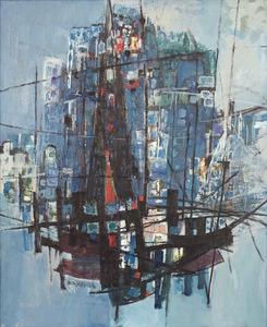 Zvi MAIROVITCH - Painting - Haifa View with Red