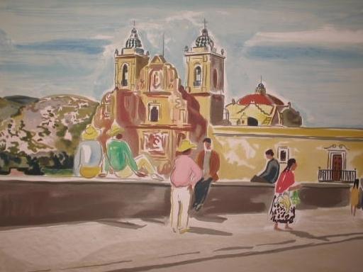 Yves BRAYER - Estampe-Multiple - Eglise à  Oaxaca (Méxique) 1966.