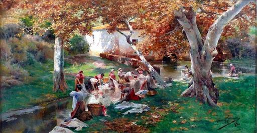 Manuel GARCIA Y RODRIGUEZ - Gemälde - The Washerwomen