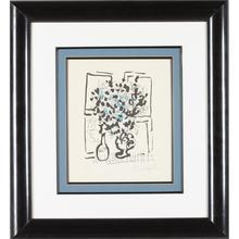 马克•夏加尔 - 版画 - Le Bouquet Noir et Bleu