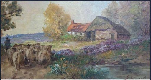 Gustav PYNAERT - Pintura - landschap met schapen en boerderij