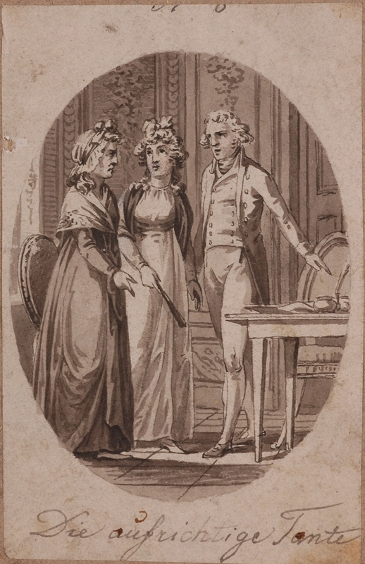 "Zeichnung Aquarell - ""Salon Scene"", Drawing, late 18th Century"