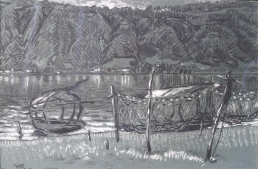 William RÖTHLISBERGER - Zeichnung Aquarell - Bissone  lac de Lugano Tessin