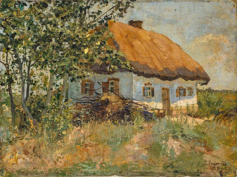 Sergei Nikolaevich ARKHIPOV - Painting - Landscape with huts