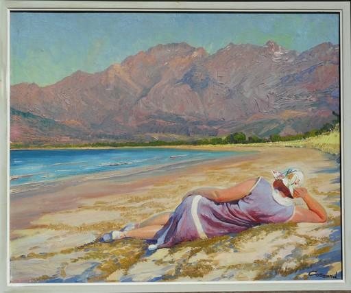Adolphe COSSARD - Painting - sur une plage en CORSE