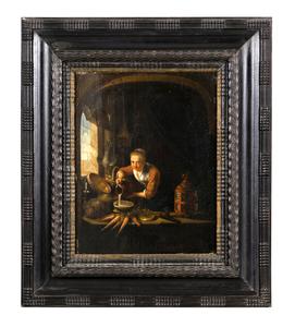 Gerrit DOW - Painting - La cuisiniere hollandaise