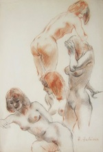 Fabien FABIANO - Drawing-Watercolor - Études de nu féminin