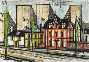 Bernard BUFFET - Pintura - Petites maisons et buildings