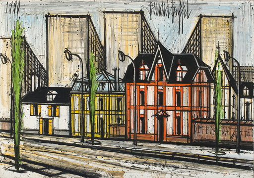 Bernard BUFFET - Peinture - Petites maisons et buildings