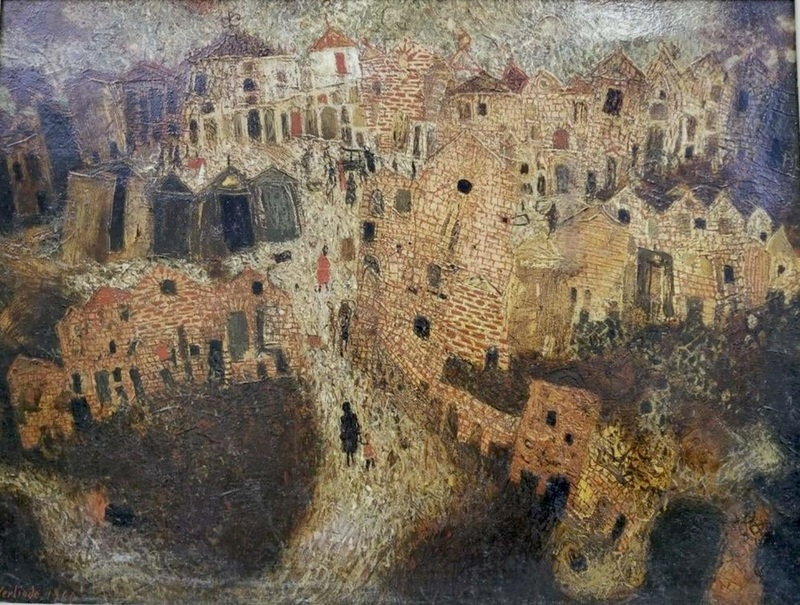 Claude VERLINDE - Painting - Village animé
