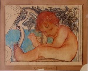 "Pierre Victor GALLAND - Drawing-Watercolor - ""PUTTO JOUANT DE LA HARPE"" (JACQUEMART-ANDRE)"