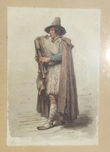 Jacques Alfred VAN MUYDEN - Dibujo Acuarela - Pifferaro