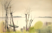 Dimas MACEDO - Drawing-Watercolor - Bord de l'étang