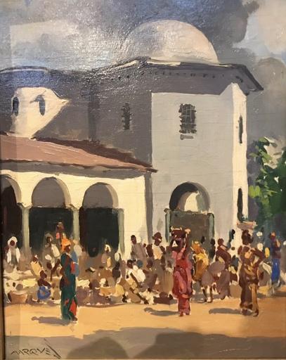 Guilherme MARQUES - Peinture - Vue d'un village d'Afrique
