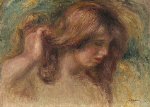 """Pierre-Auguste RENOIR - Pittura - Modèle à la main dans les cheveux - Etude pour """"La Source"""""""