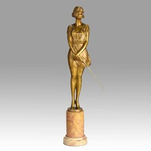 Bruno ZACH - Sculpture-Volume - Art Deco Bronze entitled 'Whip Girl' by Bruno Zach