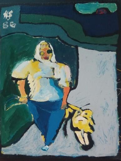 Harry BARTLETT FENNEY - Painting - dog walker (1986)
