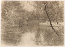 "Ludwig RÖSCH - Drawing-Watercolor -  ""Forest Pond"", ca 1900, Chalk Drawing"
