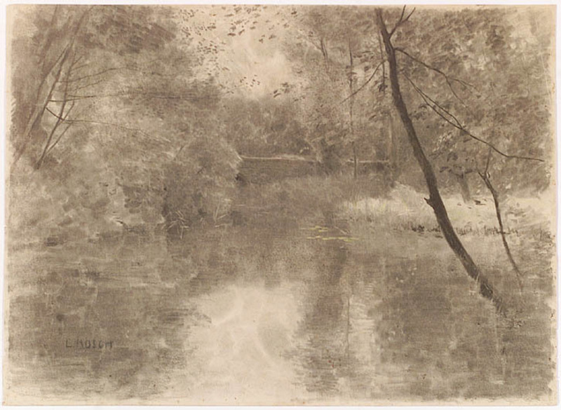"""Ludwig RÖSCH - Drawing-Watercolor -  """"Forest Pond"""", ca 1900, Chalk Drawing"""