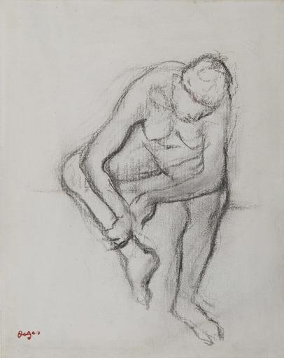 Edgar DEGAS - Disegno Acquarello - Femme nue assise